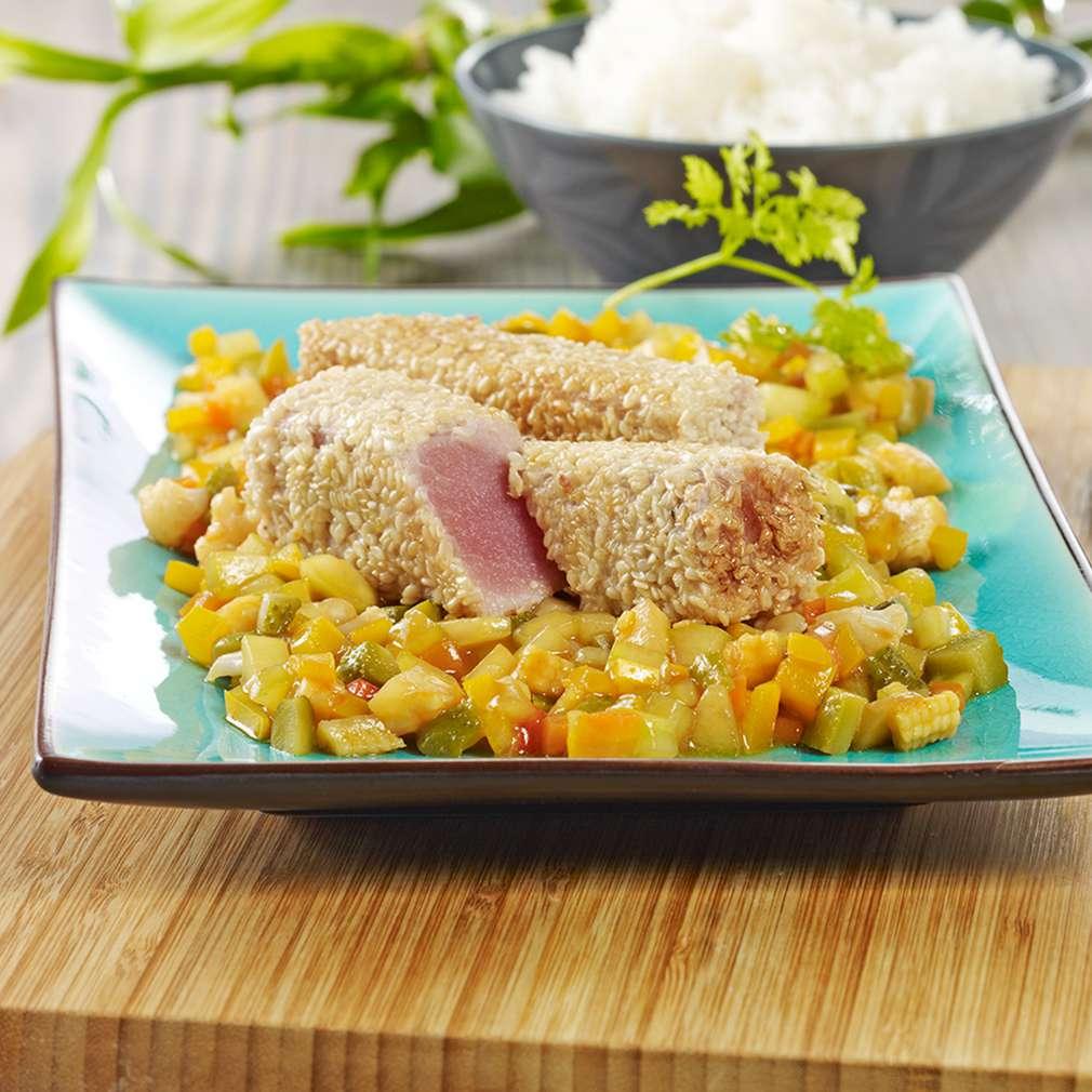 Abbildung des Rezepts Sesam-Thunfisch-Streifen auf Asia-Relish