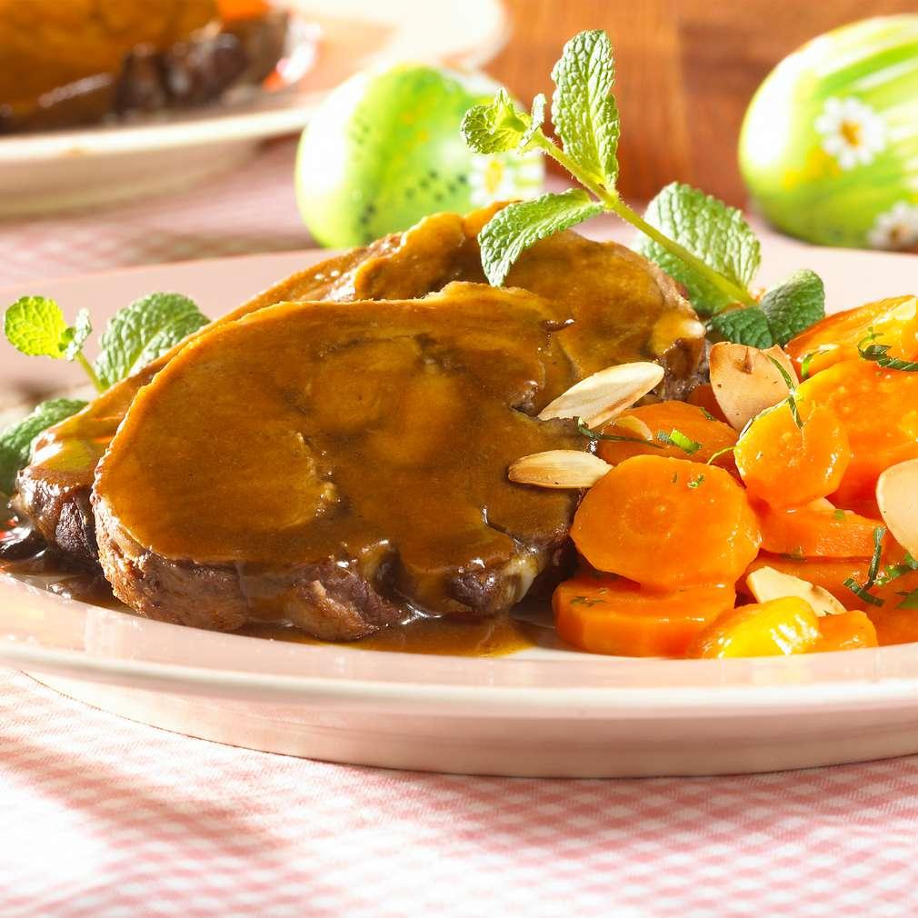 Zobrazit Jehněčí kýta s nádivkou a dušenou mrkví receptů