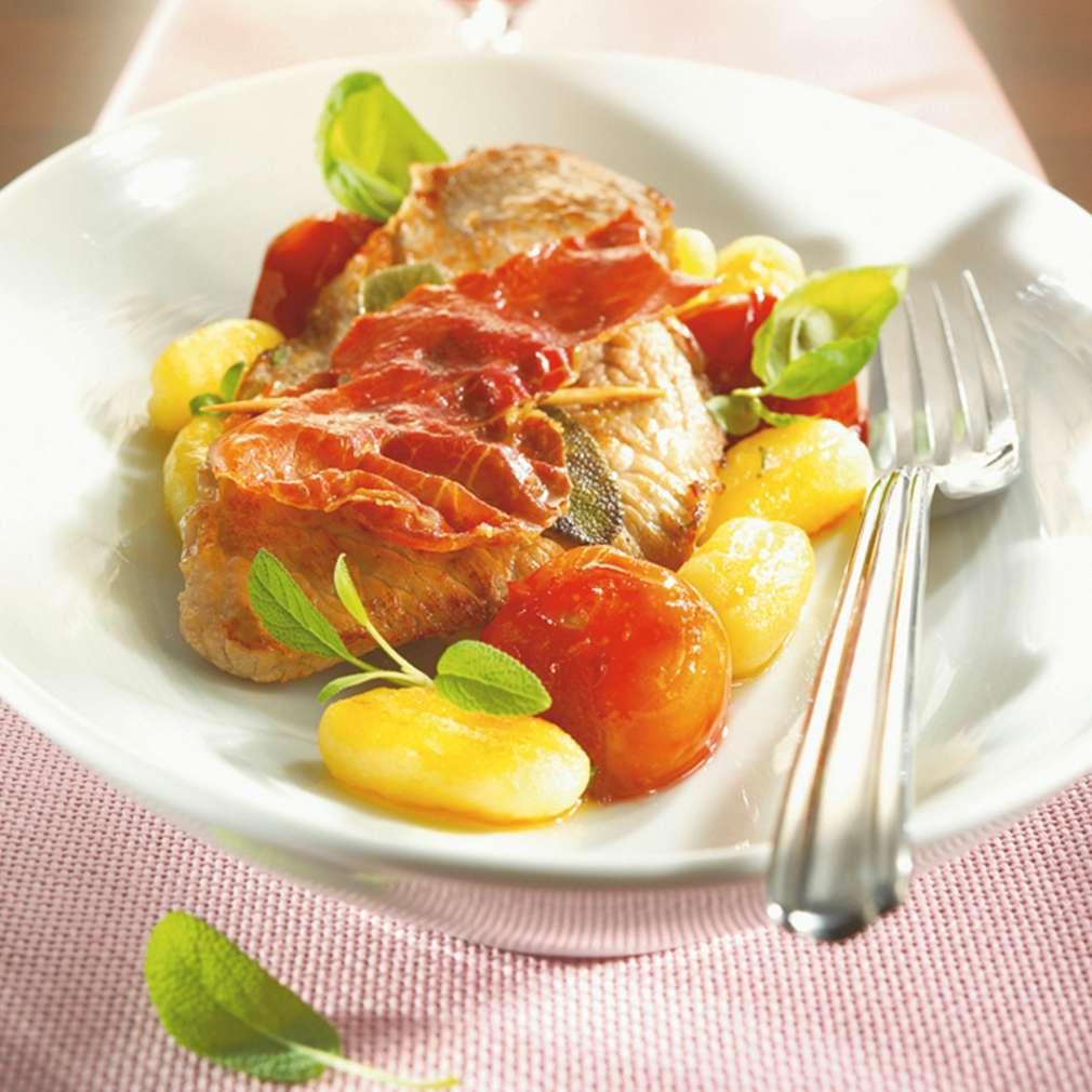 Imaginea rețetei Saltimbocca cu paste gnocchi și roșii călite