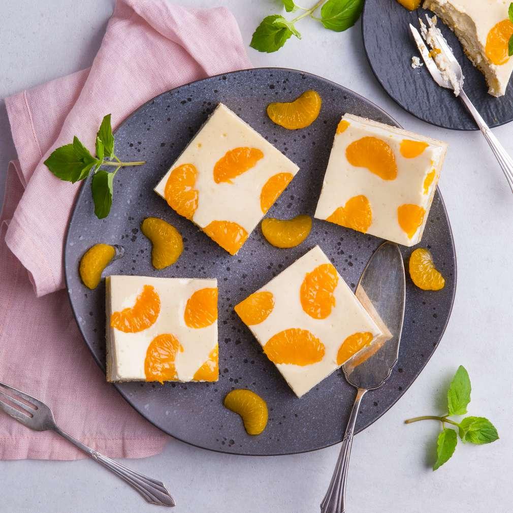 Imaginea rețetei Prăjitură cu brânză și mandarine la tavă