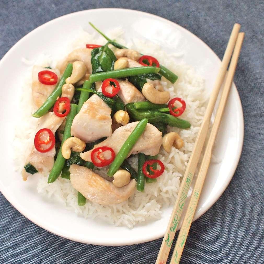 Zobrazit Voňavá rýže s kešu oříšky a kuřetem receptů