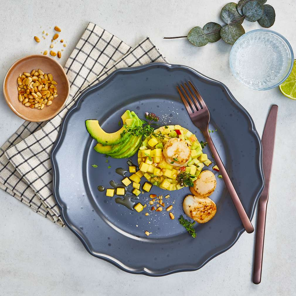 Abbildung des Rezepts Scallops mit Avocado Tatar