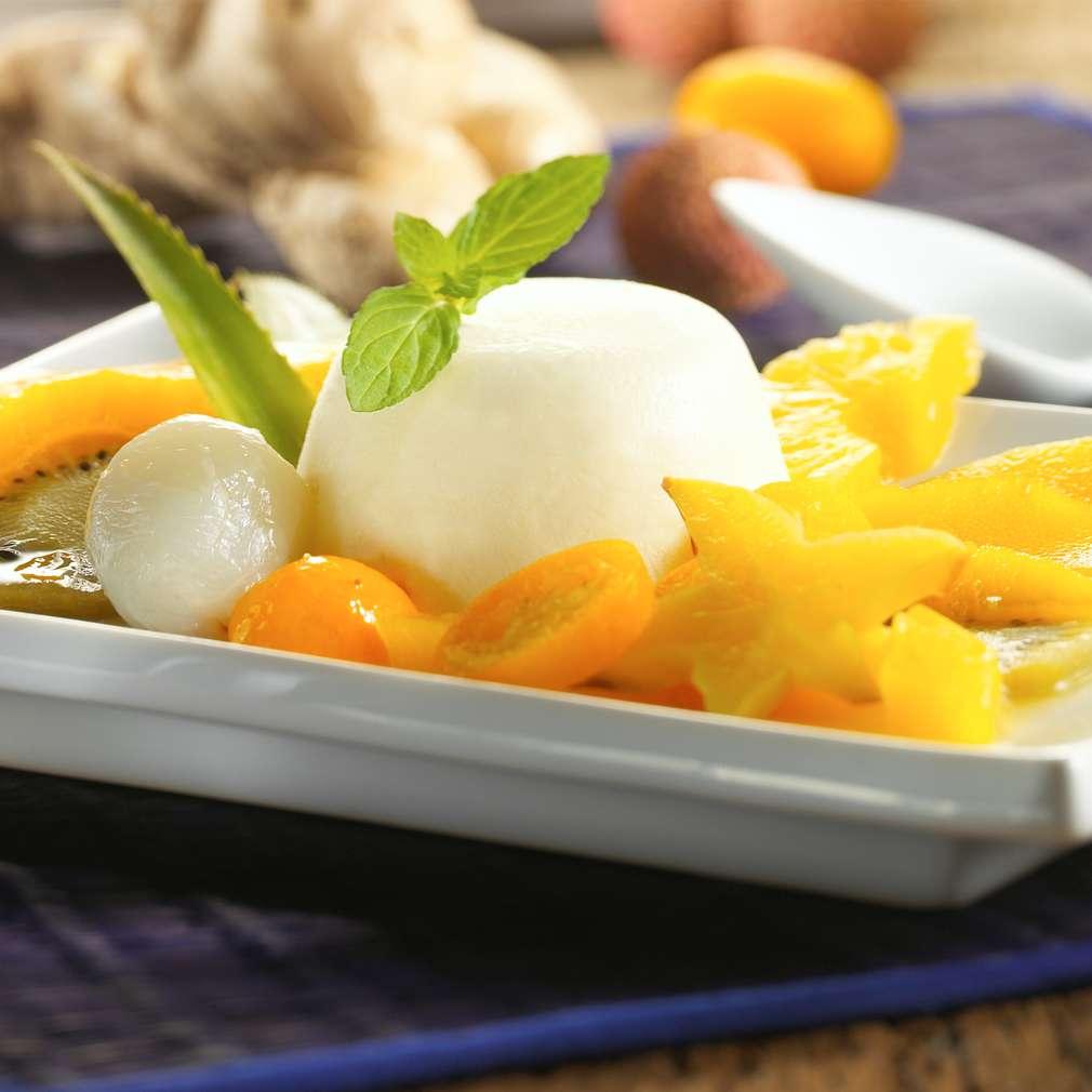 Zobrazit Lehká zázvorová pěna s exotickým ovocem receptů