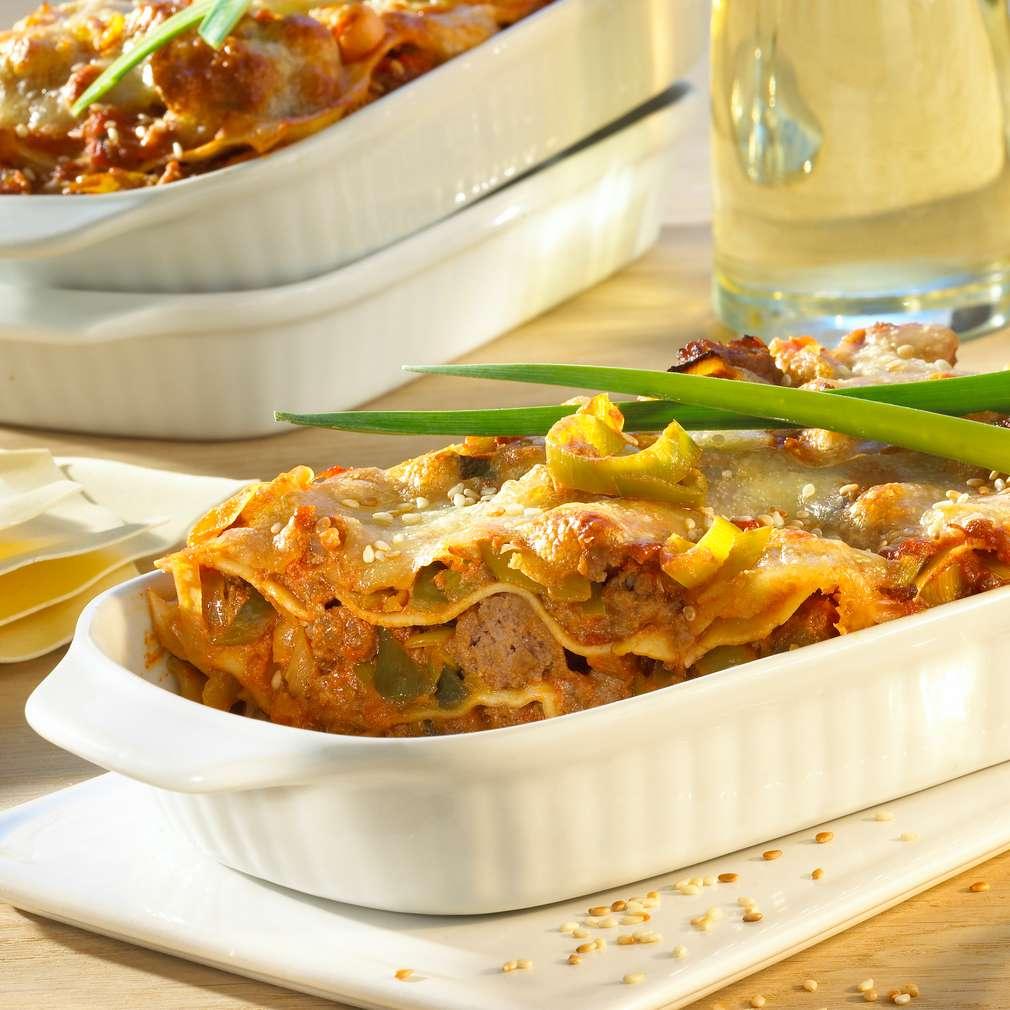 Abbildung des Rezepts Curry-Hack-Lasagne mit Sesam
