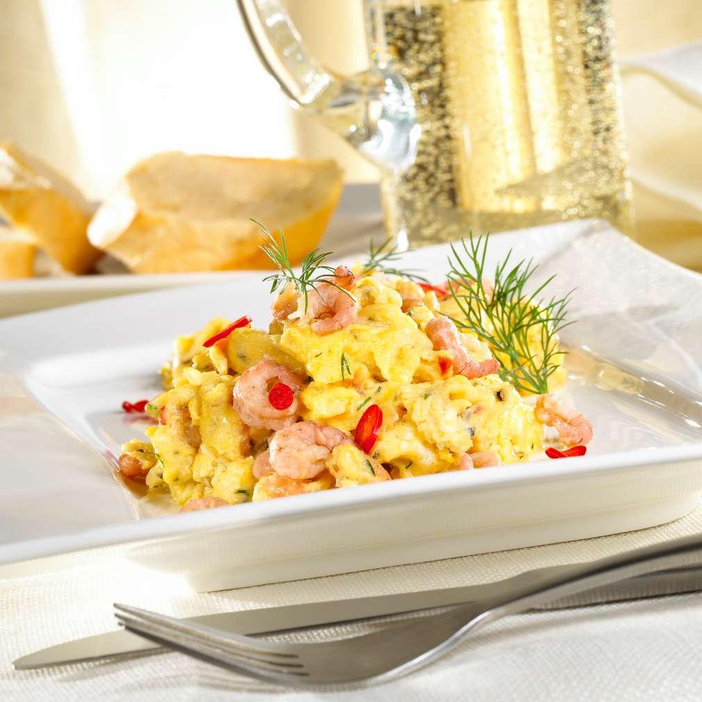 Zobrazit Pikantní míchaná vejce s krevetami receptů
