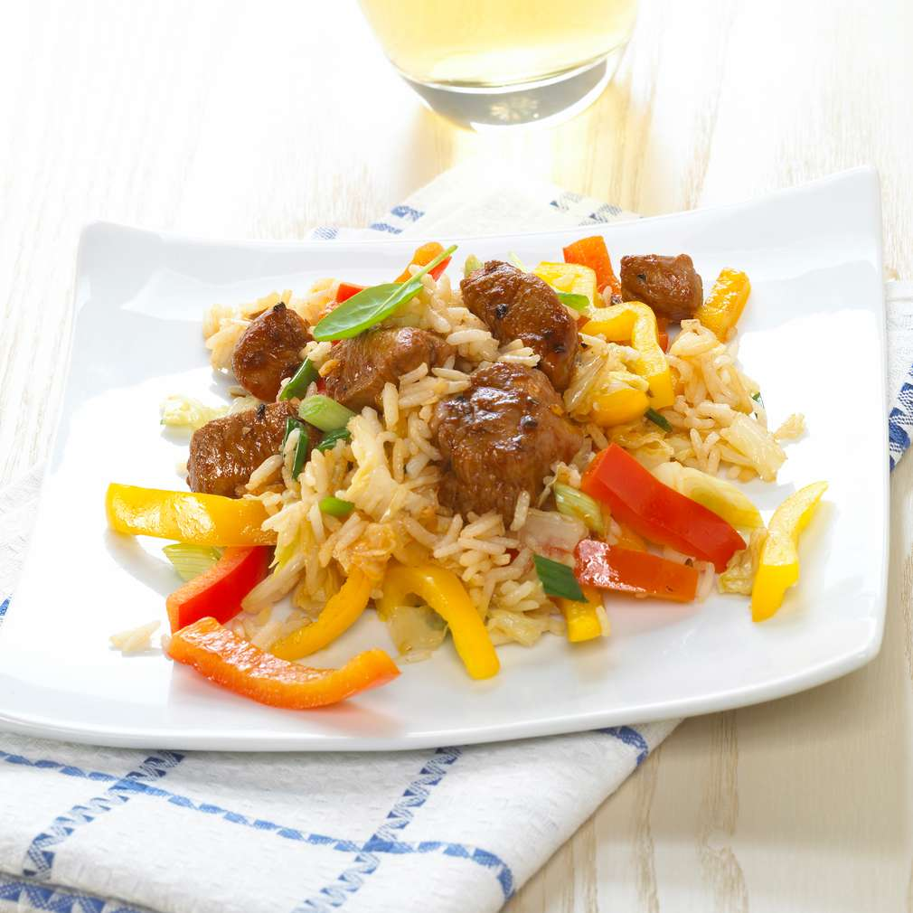 Abbildung des Rezepts Puten-Gemüse-Pfanne mit Reis