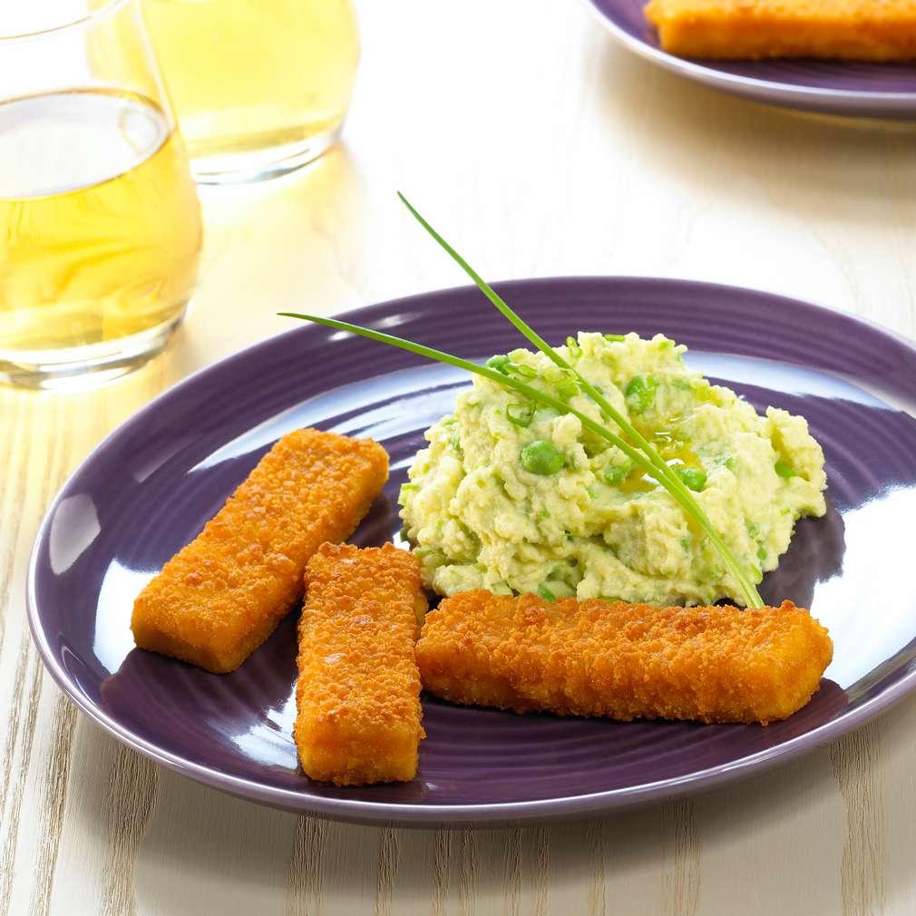 Zobrazit Rybí prsty s bramborovou kaší s hráškem receptů