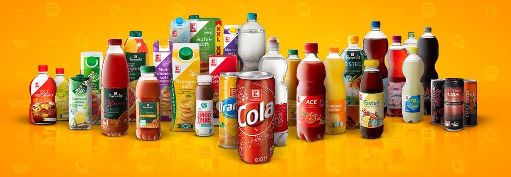 Изображение на различни напитки от собствените марки на Kaufland