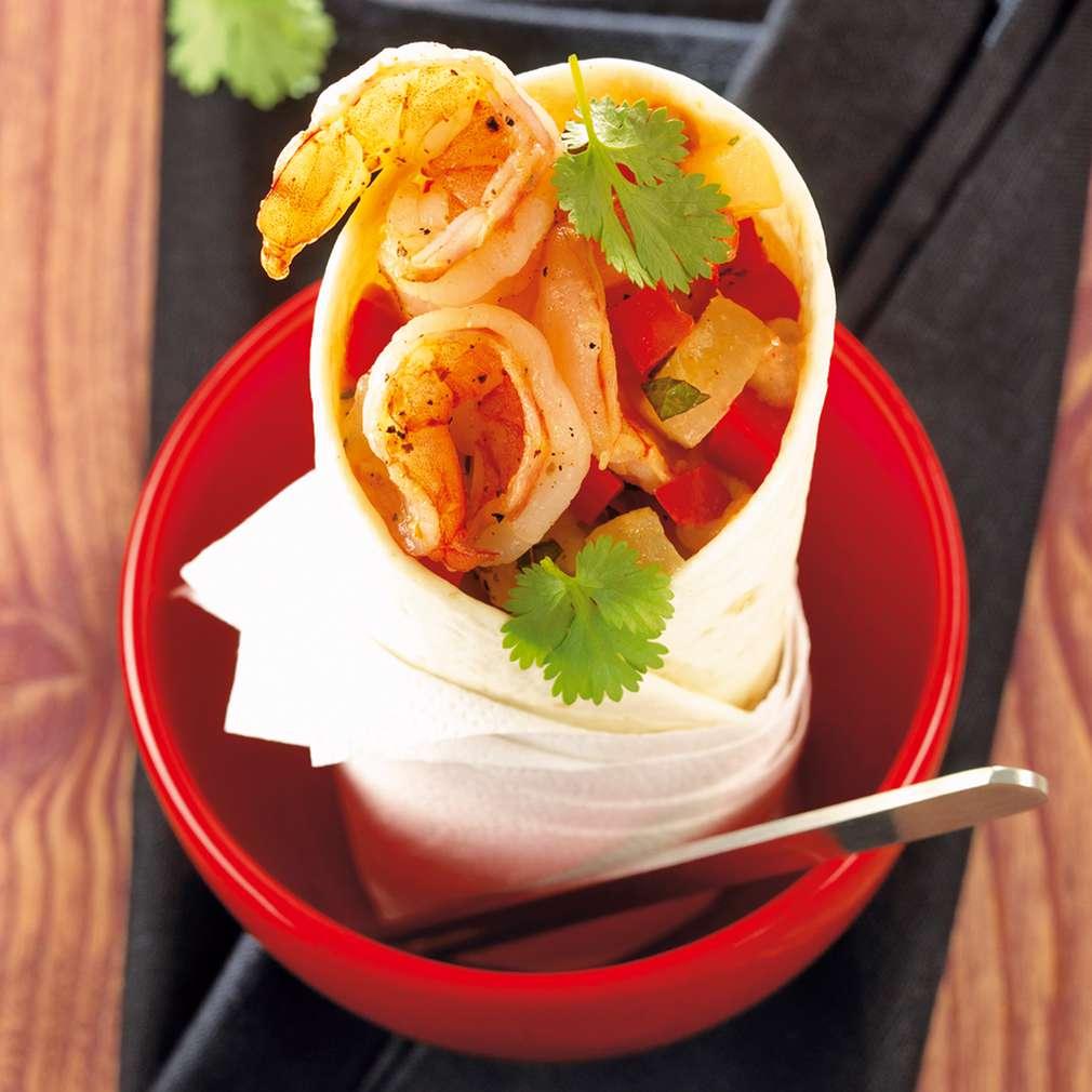 Zobrazit Tortilly s ananasem a krevetami receptů