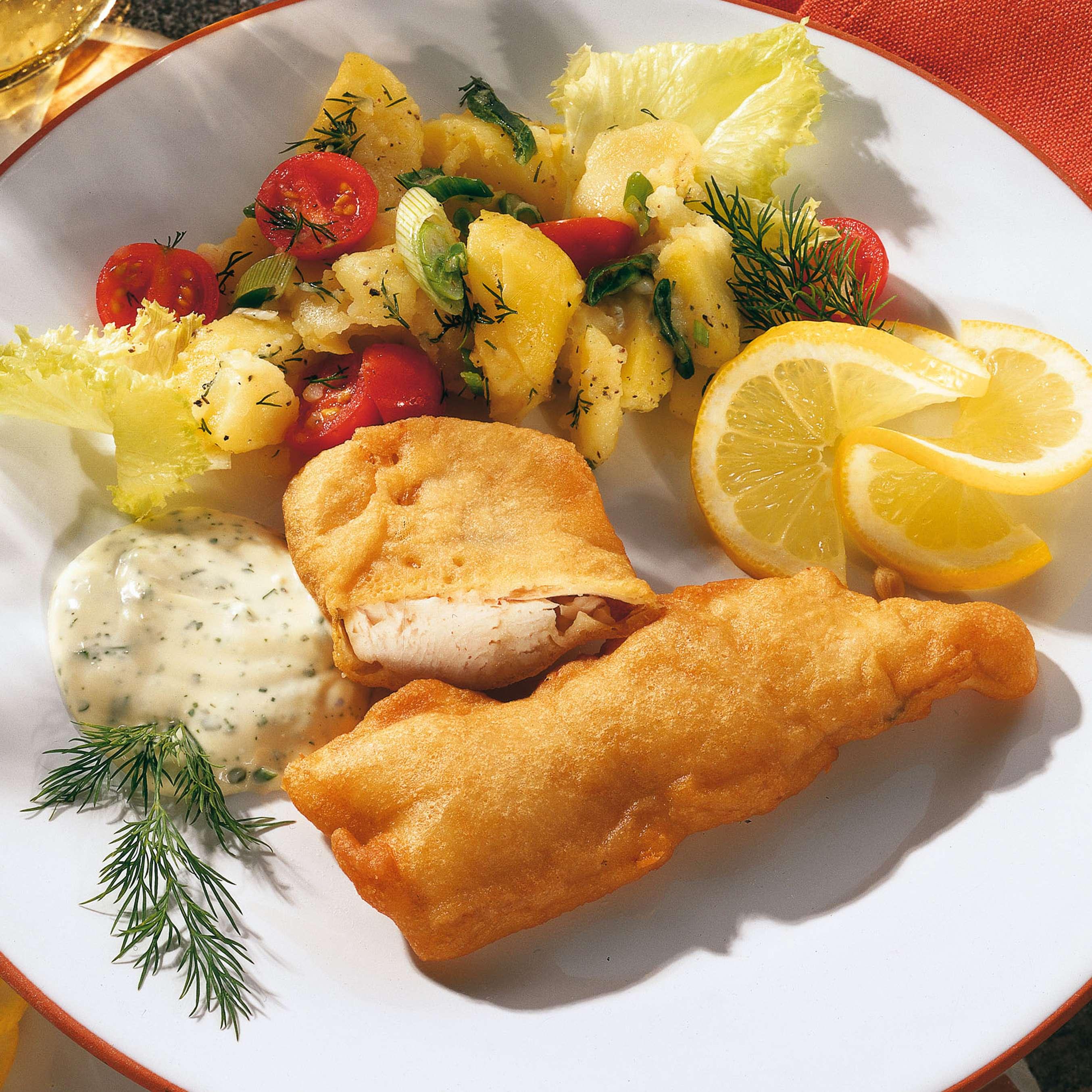 rezept f r backfisch im bierteig mit kartoffelsalat kaufland. Black Bedroom Furniture Sets. Home Design Ideas