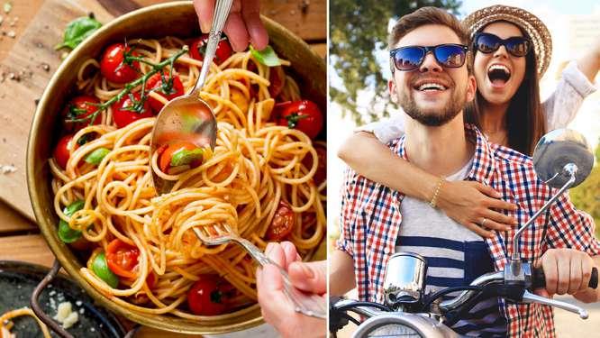 Изображение на вкусна италианска паста и на двама младежи на скутерче