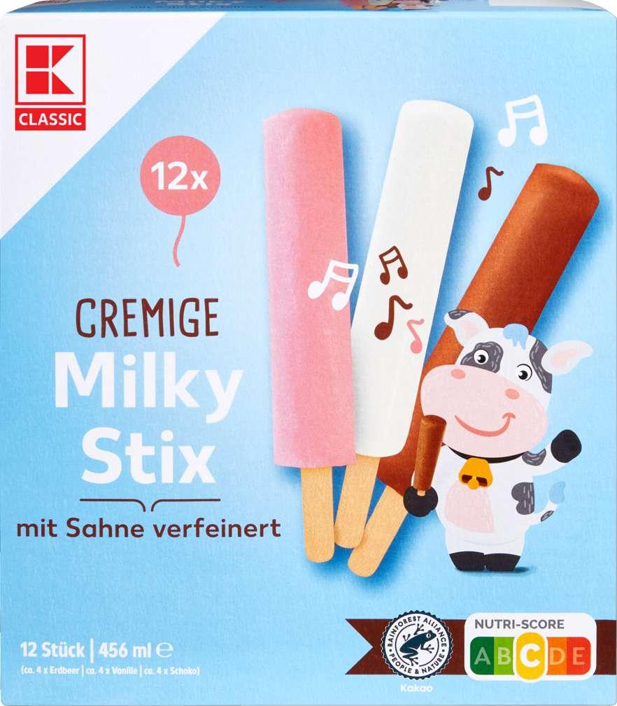 Abbildung des Sortimentsartikels K-Classic Milchsticks Schoko/Vanille/Erdbeer 12x38ml