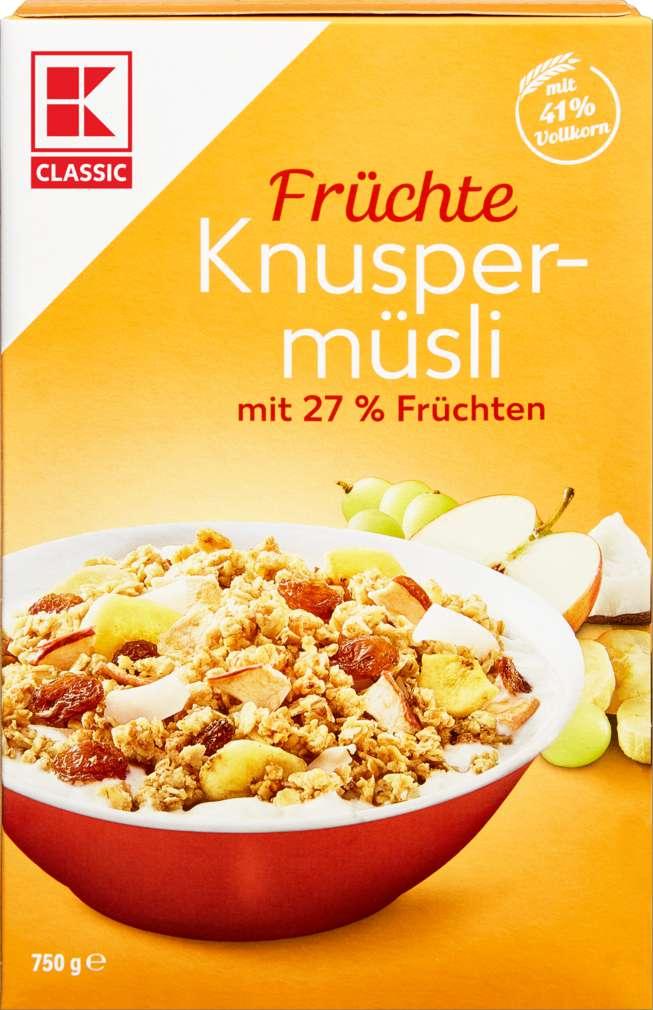 Abbildung des Sortimentsartikels K-Classic Knusper-Früchte-Müsli mit 27% Früchten 750g