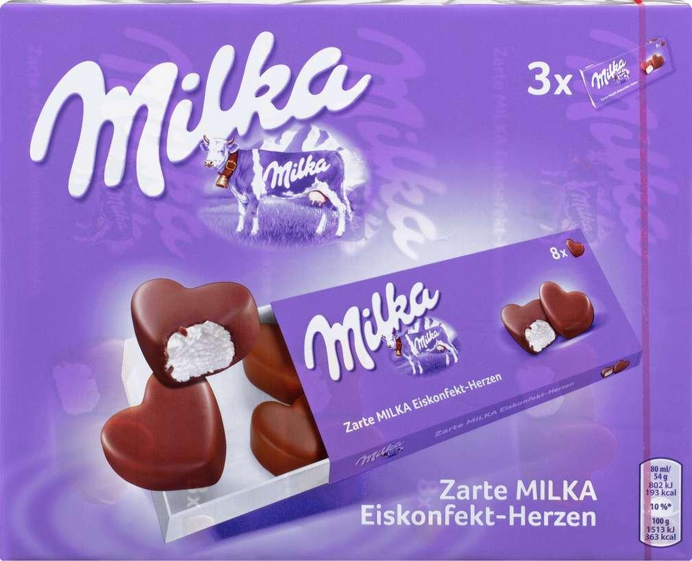 Abbildung des Sortimentsartikels Milka Eiskonfekt-Herzen 3x80ml