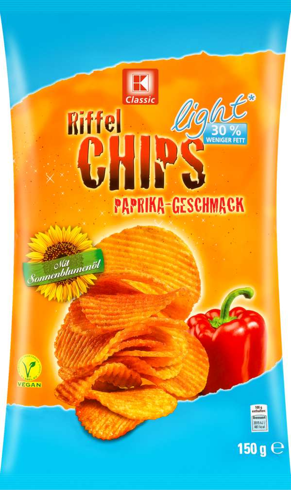 Abbildung des Sortimentsartikels K-Classic Kartoffelchips light Paprika 150g