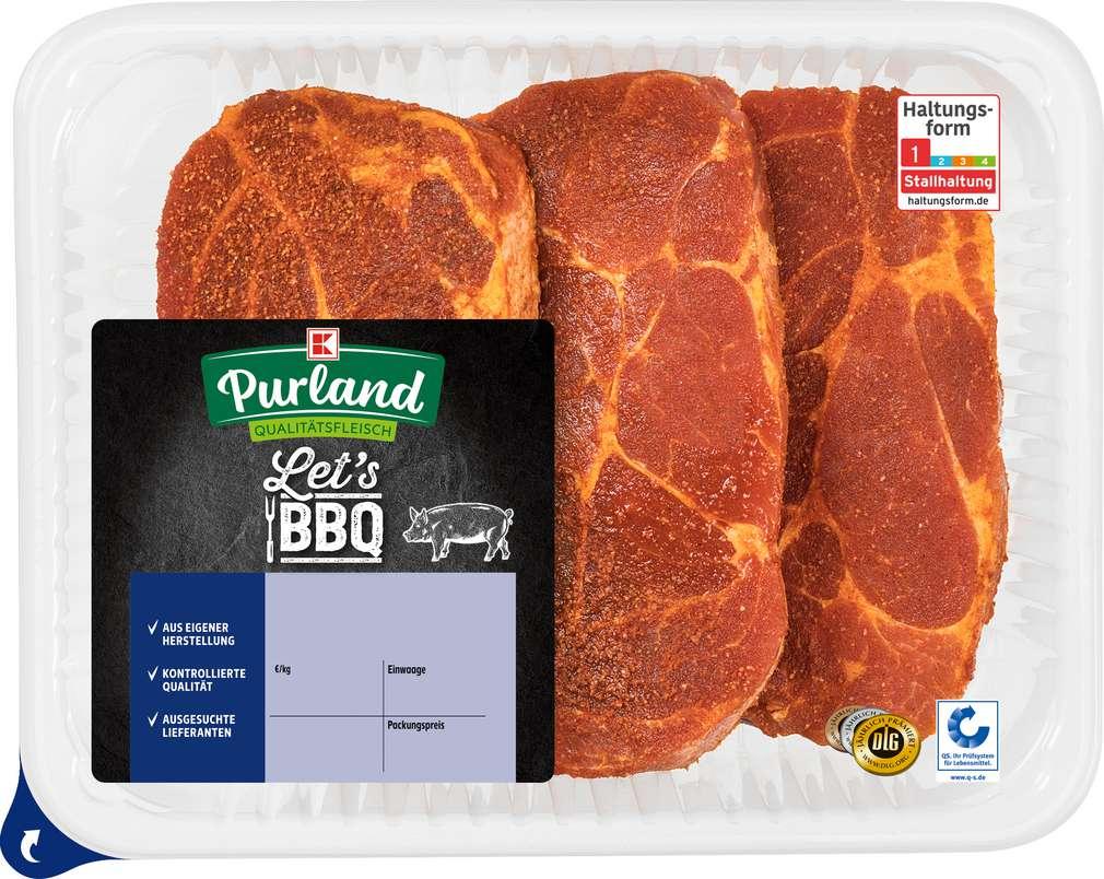 Abbildung des Sortimentsartikels K-Purland Let´s BBQ Schw.-Nackensteak Arrabiata Style gewürzt, 3 Stück
