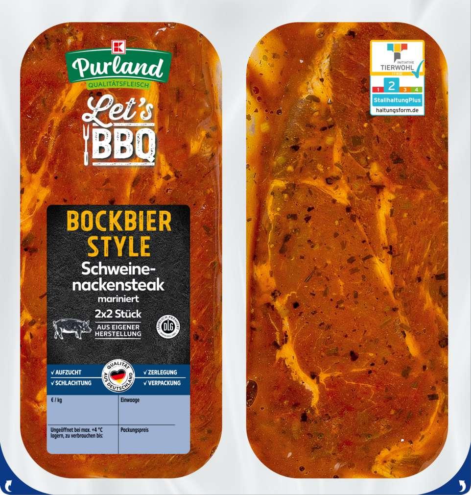 Abbildung des Sortimentsartikels K-Purland Let´s BBQ Schw.-Nackensteak Bockbier Style mariniert 4 Stück