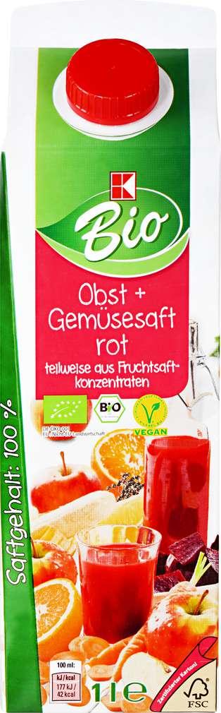 Abbildung des Sortimentsartikels K-Bio Obst + Gemüsesaft rot 1l