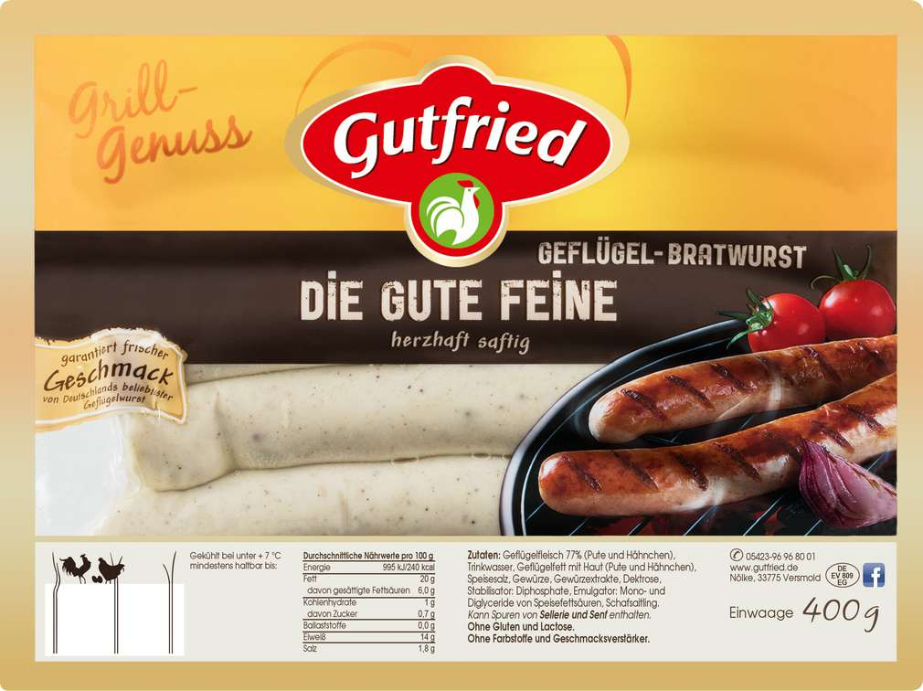 Abbildung des Sortimentsartikels Gutfried Die gute Feine Geflügel Bratwurst 400g