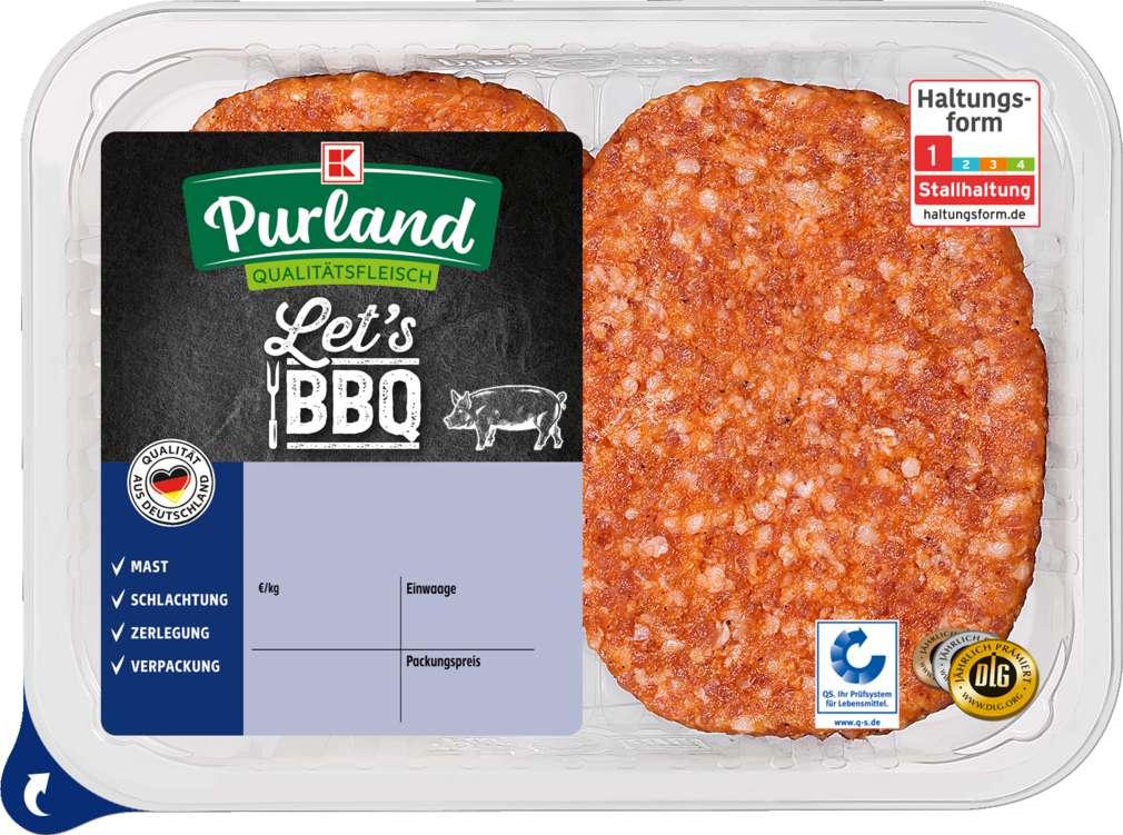 Abbildung des Sortimentsartikels K-Purland Hacksteaks vom Schwein gewürzt 240g