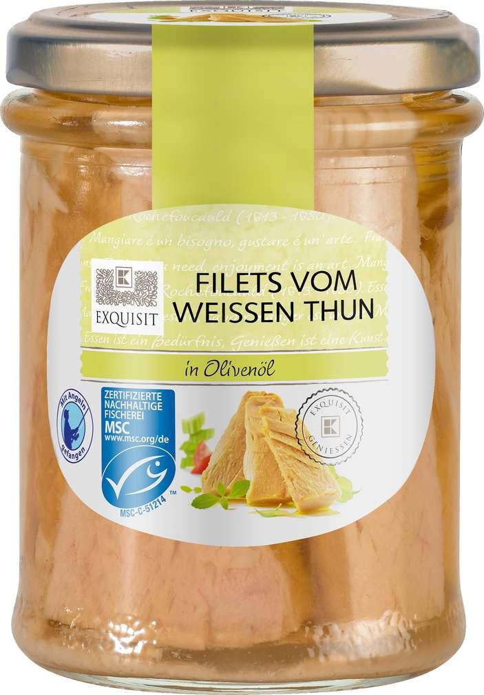 Abbildung des Sortimentsartikels Exquisit Weiße Thunfischfilets in Olivenöl 190g