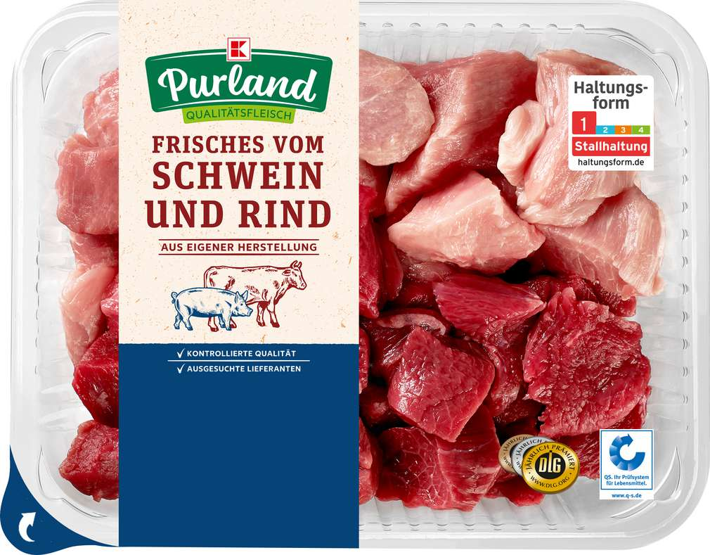 Abbildung des Sortimentsartikels K-Purland Gulasch gemischt Schwein/Rind 1kg