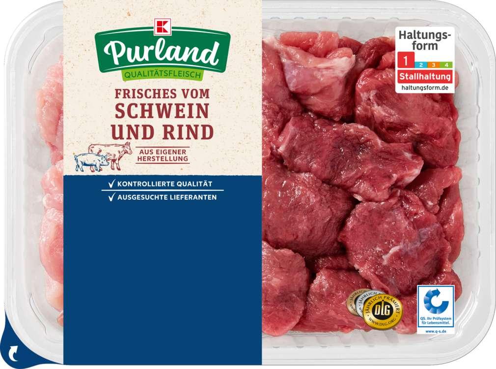 Abbildung des Sortimentsartikels K-Purland Gulasch gemischt Schwein/Rind 500g