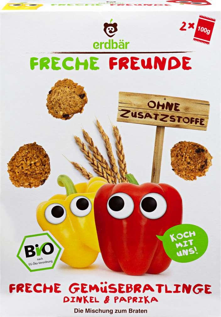 Abbildung des Sortimentsartikels Erdbär Freche Freunde Gemüsebratlinge Dinkel & Paprika 2x100g