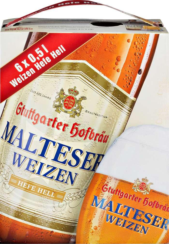 Abbildung des Sortimentsartikels Stuttgarter Hofbräu Malteser Hefe hell 6/0,5l