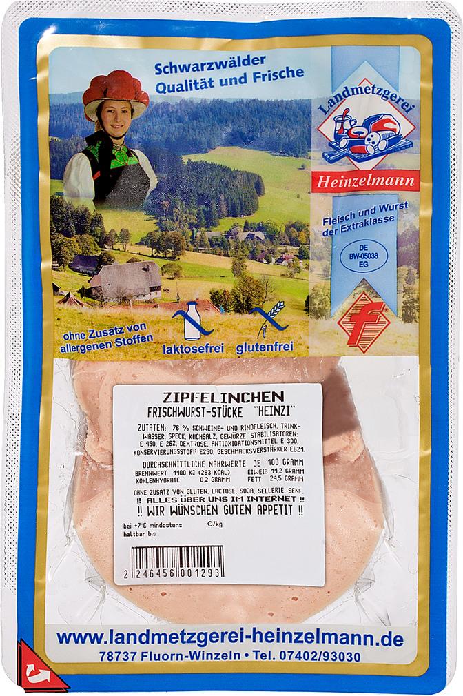 Abbildung des Sortimentsartikels Landmetzgerei Heinzelmann Zipfelinchen Fleischwurststücke 300g