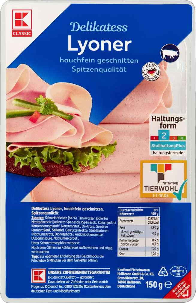 Abbildung des Sortimentsartikels K-Classic Delikatess Lyoner Hauchschnitt 150g