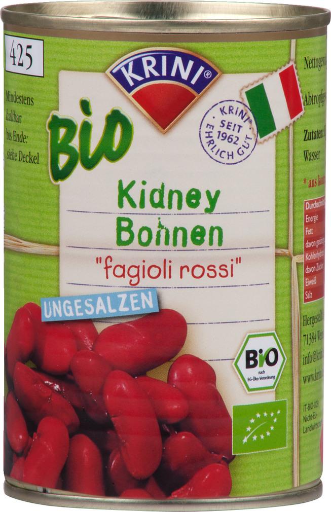Abbildung des Sortimentsartikels Krini Bio Kidney Bohnen 400g