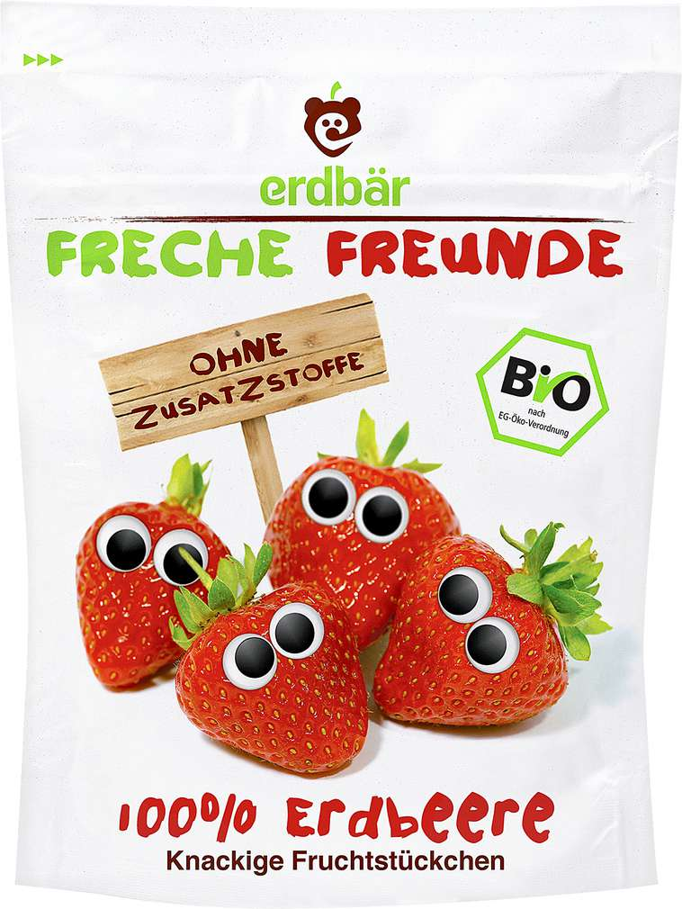 Abbildung des Sortimentsartikels Erdbär Freche Freunde Fruchtstückchen 100% Erdbeere 12g
