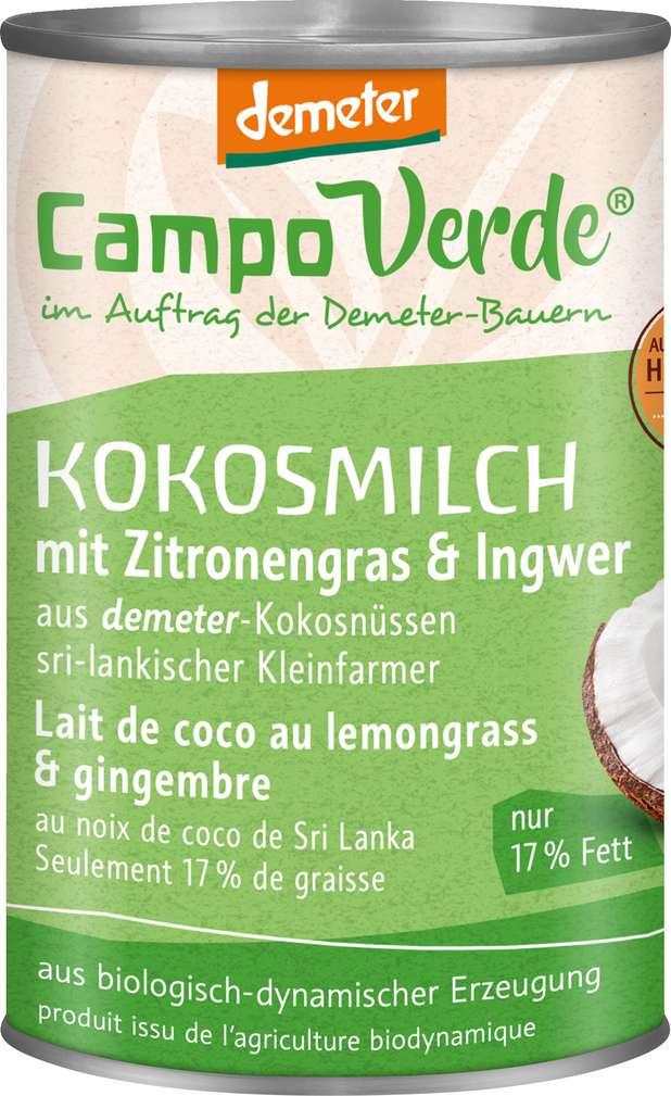 Abbildung des Sortimentsartikels Campo Verde Demeter Kokosmilch mit Zitronengras & Ingwer 400ml