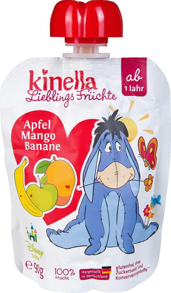 Abbildung des Sortimentsartikels Kinella Lieblings Früchte Apfel-Mango-Banane 90g