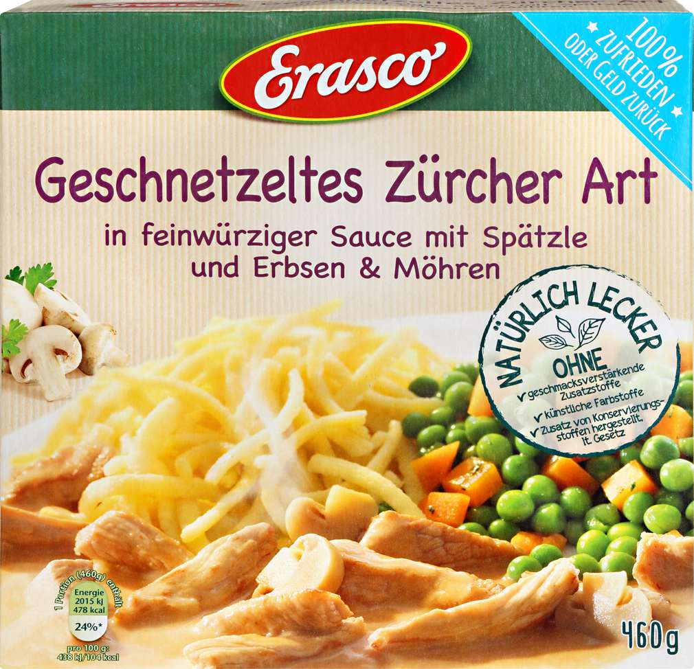 Abbildung des Sortimentsartikels Erasco Geschnetzeltes Züricher Art 460g