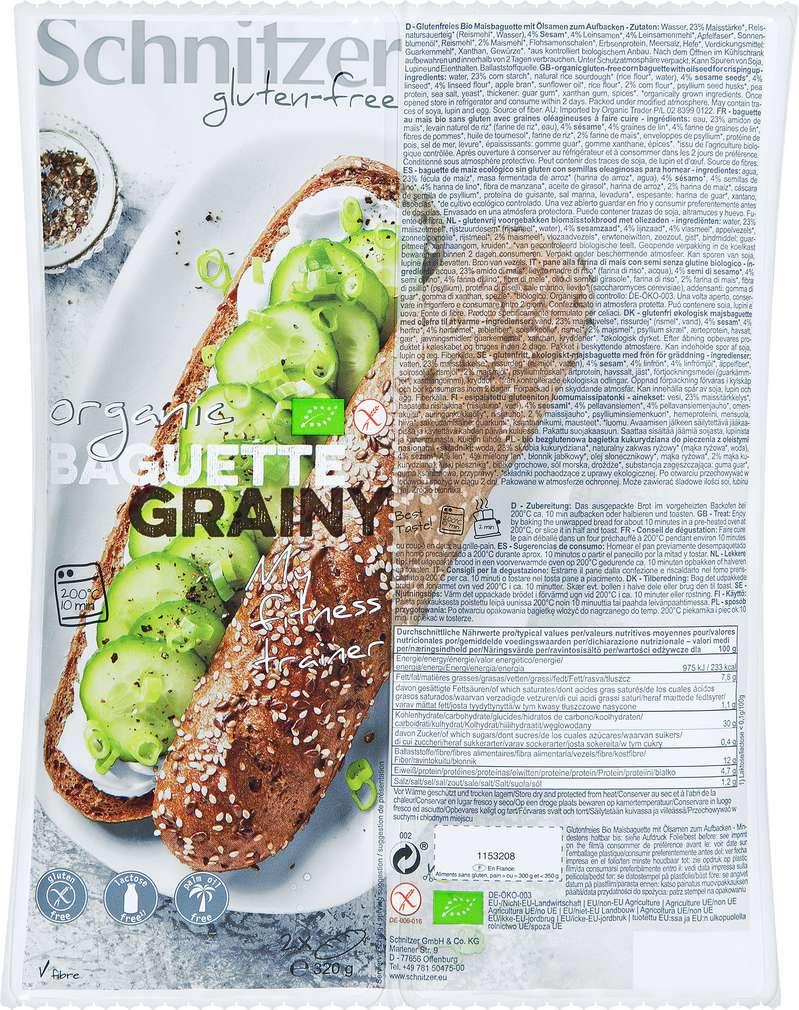 Abbildung des Sortimentsartikels Schnitzer Bio-Baguette körnig lf gf 2x160g