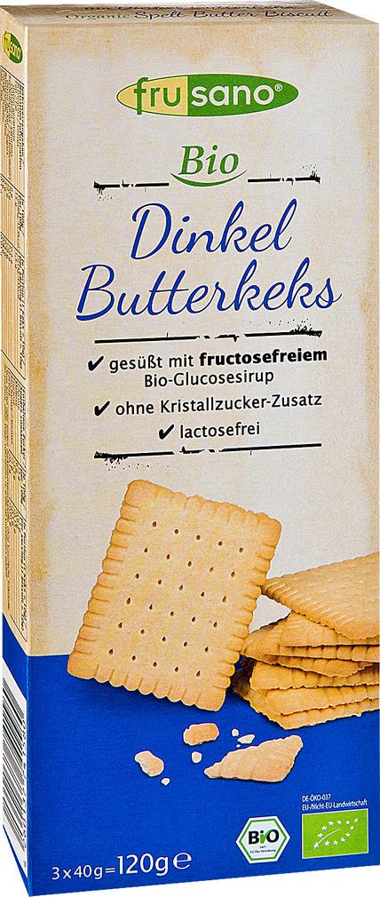 Abbildung des Sortimentsartikels Frusano Bio Dinkel Butterkeks 3x40g
