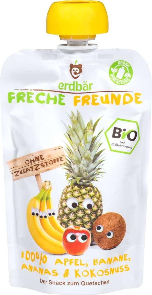 Abbildung des Sortimentsartikels Erdbär Freche Freunde 100% Apfel, Banane, Ananas & Kokosnuss 100g