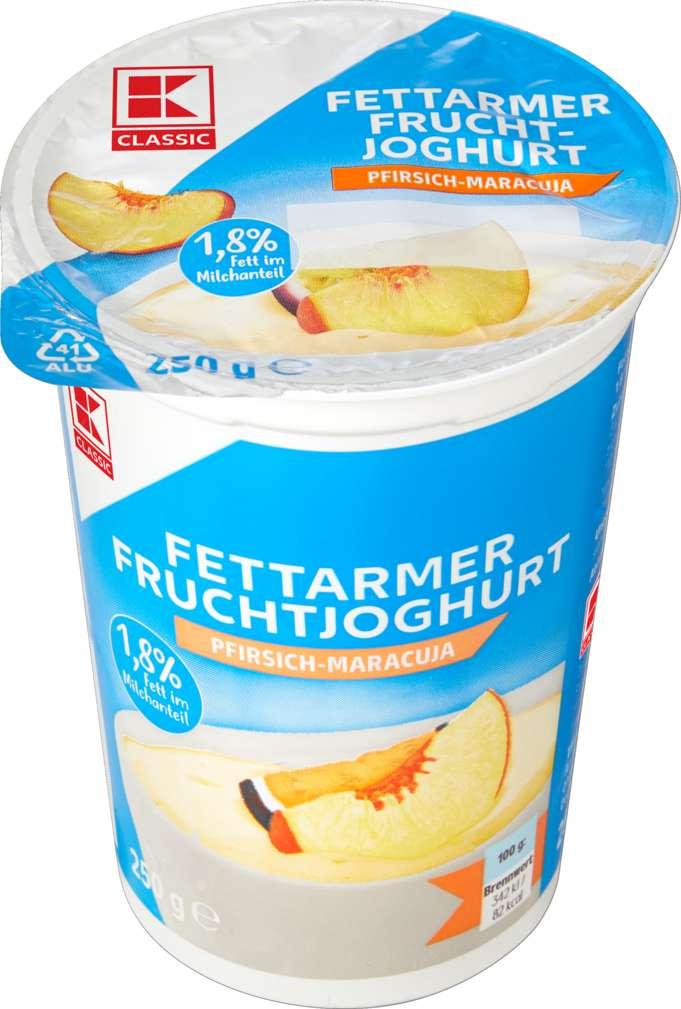 Abbildung des Sortimentsartikels K-Classic Fruchtjoghurt Pfirsich-Maracuja 1,8% Fett 250g