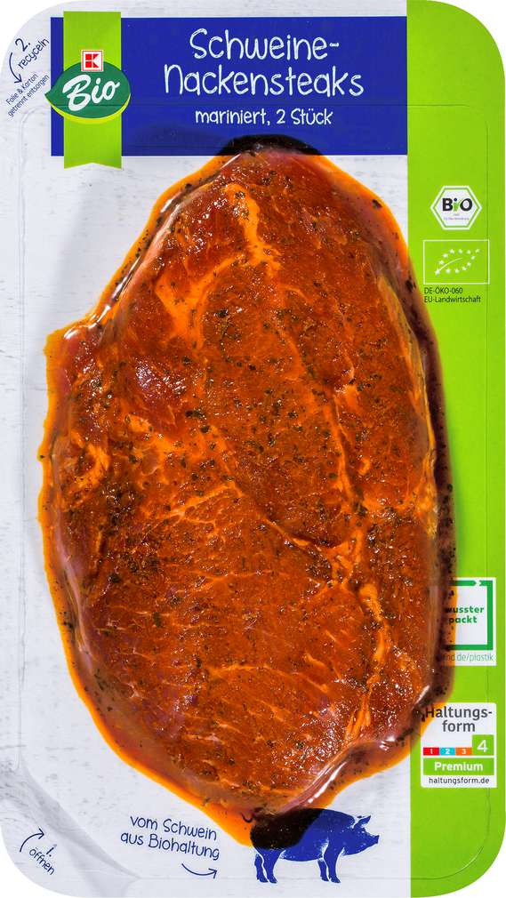 Abbildung des Sortimentsartikels K-Bio Nackensteak v.Schwein mar. 2 St. 240g