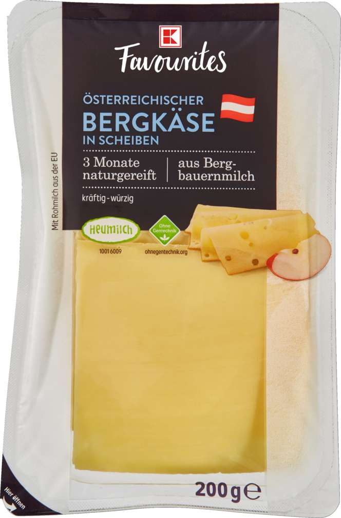 Abbildung des Sortimentsartikels K-Favourites Bergkäse in Scheiben 45% Fett i.Tr. 200g