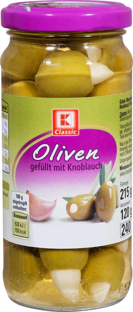 Abbildung des Sortimentsartikels K-Classic Oliven Manzanilla grün mit Knoblauch 215g