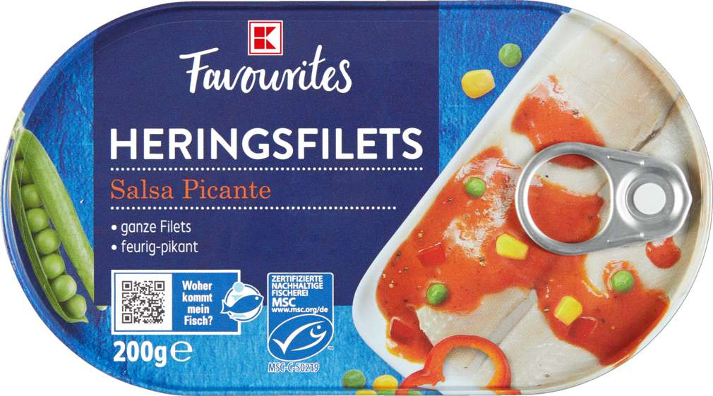 Abbildung des Sortimentsartikels K-Favourites Heringsfilets in Salsa Picante 200g