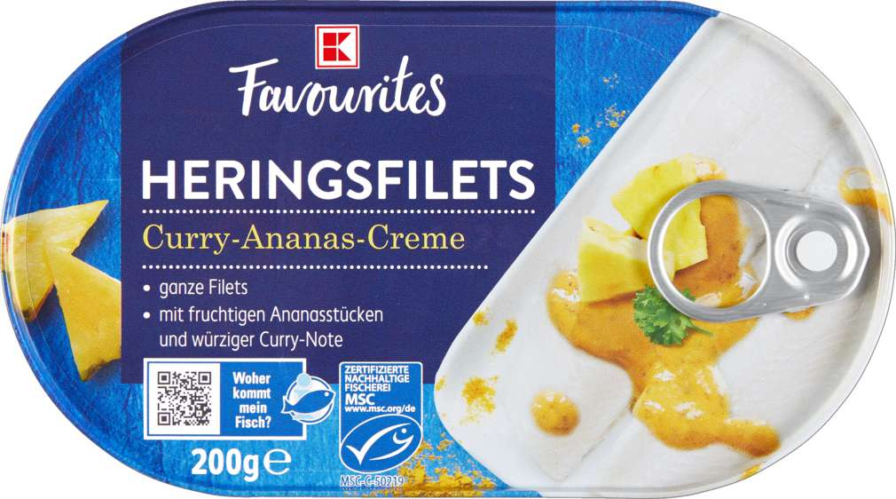 Abbildung des Sortimentsartikels K-Favourites Heringsfilets in Curry-Ananas-Creme 200g