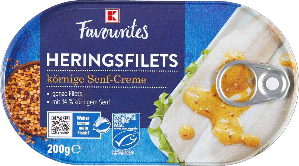 Abbildung des Sortimentsartikels K-Favourites Heringsfilets in Senf Creme 200g