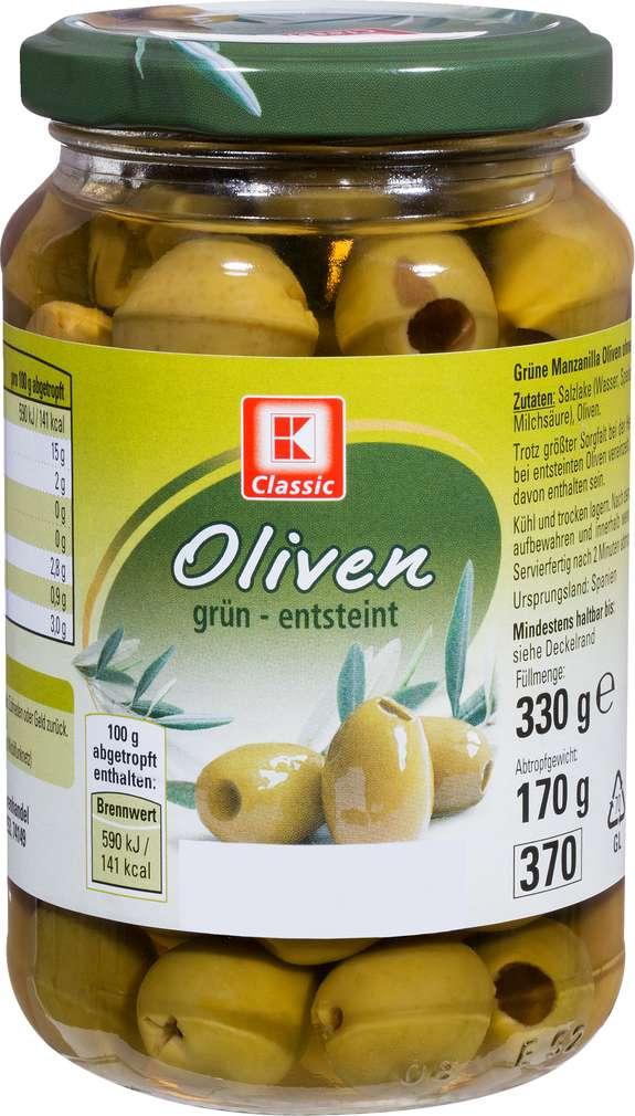 Abbildung des Sortimentsartikels K-Classic Oliven Manzanilla grün ohne Stein 330g