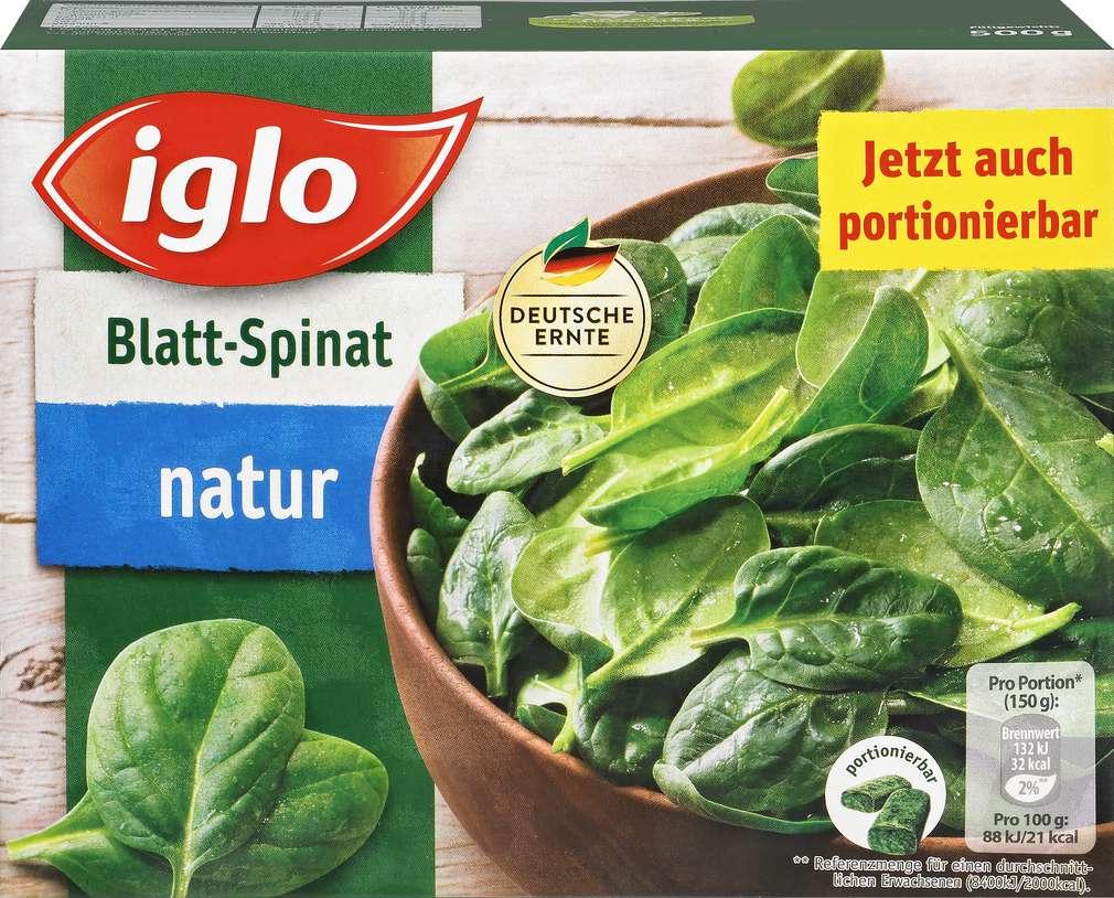 Abbildung des Sortimentsartikels Iglo Blatt-Spinat natur 500g