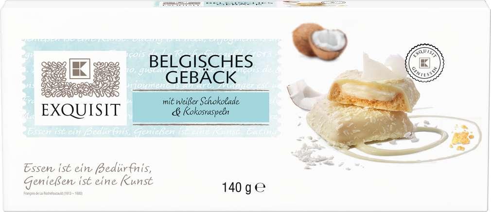 Abbildung des Sortimentsartikels Exquisit Belgisches Gebäck mit weißer Schokolade & Kokosraspeln 140g