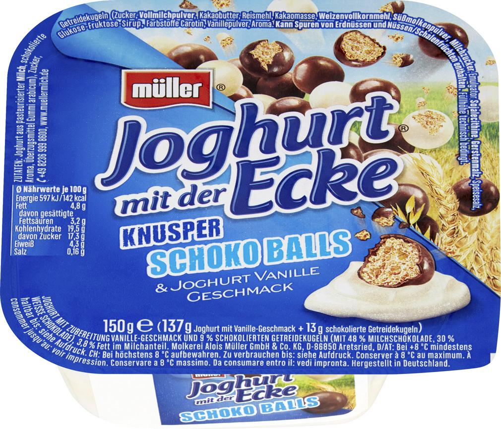 Abbildung des Sortimentsartikels Müller Joghurt mit der Ecke Knusper Schoko Balls 150g